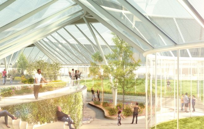 An artistic rendering shows a glass building designed by New York-based architect Toshiko Mori for the Buffalo & Erie County Botanical Gardens' planned expansion.