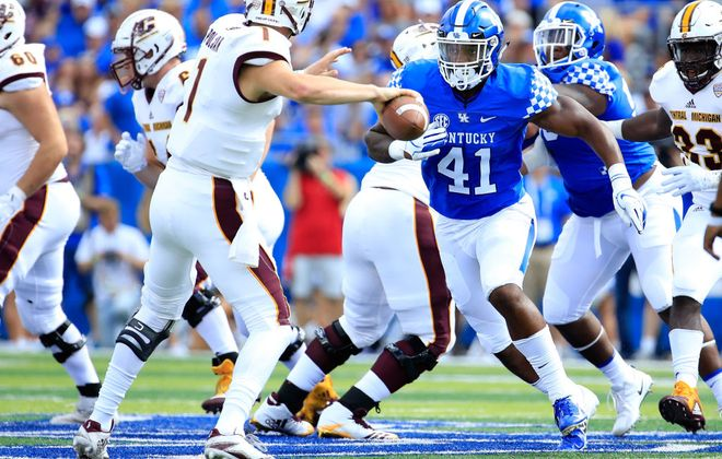 Josh Allen of Kentucky could be drafted even higher than the Bills' Josh Allen, the 7th overall pick out of Wyoming. (Photo by Andy Lyons/Getty Images)