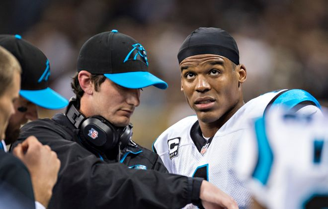 Former Panthers quarterbacks coach Ken Dorsey, seen here working with Cam Newton in 2013, will take over the same job with the Buffalo Bills. (Getty Images)
