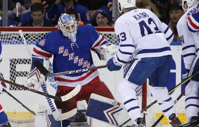 Rangers backup goalie Alexandar Georgiev, who will face the Sabres, tonight, stops Toronto's Nazem Kadri in the second period Monday night. It was one of 55 saves he made in a 4-1 win over the Maple Leafs (Getty Images).