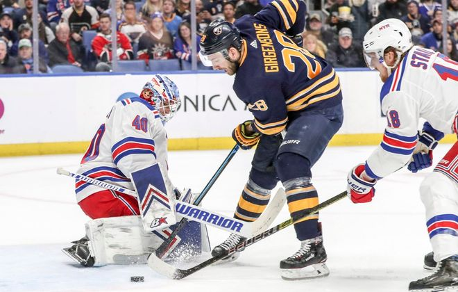 Buffalo Sabres winger Zemgus Girgensons (28) takes a shot on New York Rangers goalie Alexandar Georgiev (40) in the first period at Key Bank Center in Buffalo, NY on Friday, Feb. 15, 2019. (James McCoy/Buffalo News)