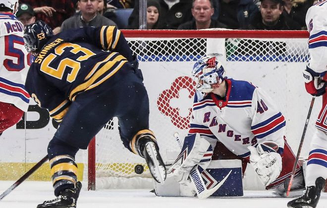 Buffalo Sabres left wing Jeff Skinner (53) scores his second goal of the game against New York Rangers goaltender Alexandar Georgiev (40) in the second period at KeyBank Center on Friday, Feb. 15, 2019.  (James McCoy/Buffalo News)