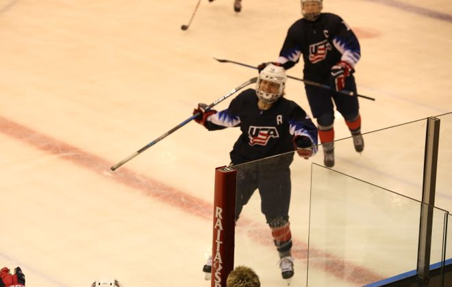 Katy Knoll, who lives in Amherst, skates to the bench while playing for Team USA's 18-Under Women's Hockey Team. (Photo courtesy of Suzanne Knoll)