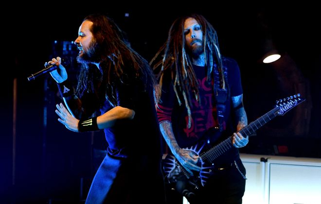 Korn - with Jonathan Davis and Brian 'Head' Welch - will perform at the Darien Lake Amphitheatre in 2019.  (Getty Images)