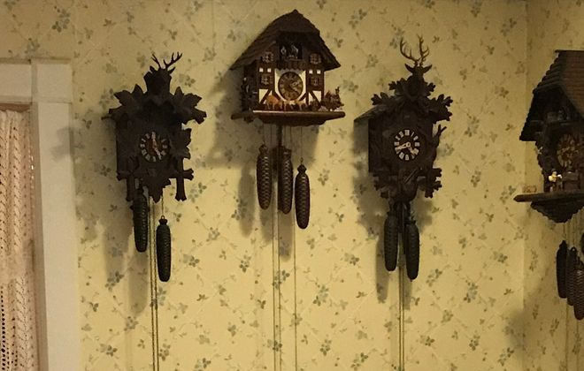 Cuckoo clocks hang on the kitchen wall in our latest Home of the Week, a Victorian in Mayville.  (Photo courtesy Philip  Mure and Roberta Mure)