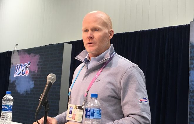 Sean McDermott at the NFL scouting combine. (Mark Gaughan/Buffalo News)