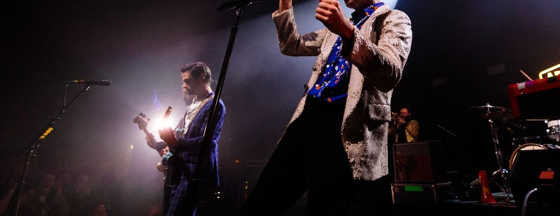 Max Kerman, right, led a rousing show by Arkells in Town Ballroom on Thursday. (Jordan Oscar/Special to The News)