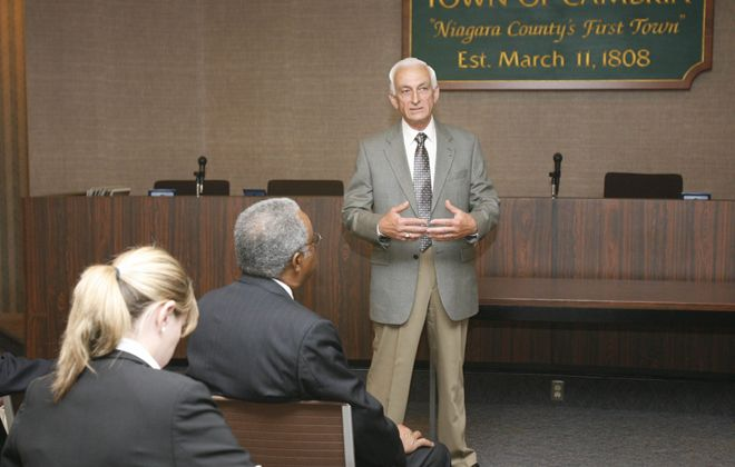 Cambria Town Justice Amel S. Jowdy Jr. speaks in Town Hall in this 2007 file photo. (Sharon Cantillon/Buffalo News)
