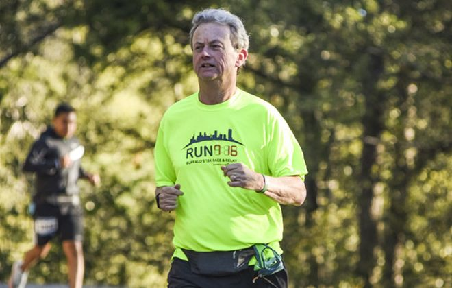 """""""I think we can all agree that one less piece of trash on the street or in the park is a good thing,"""" says Jim O'Connor, founder and leader of Green Buffalo Runner. (Photo courtesy of Jim O'Connor)"""