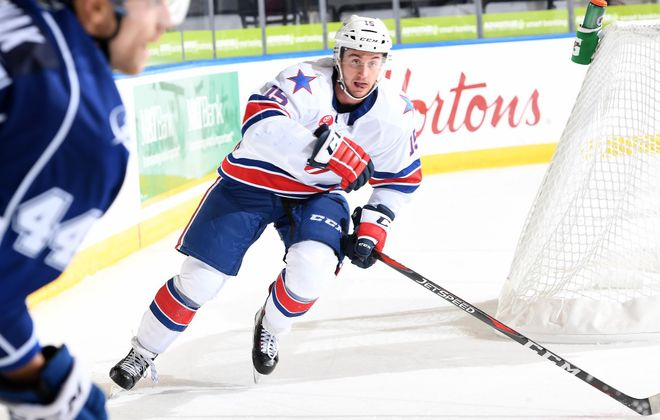Rookie Andrew Oglevie, 23, has suffered two concussions during his rookie season with the Amerks.  (Micheline Veluvolu/Rochester Americans)