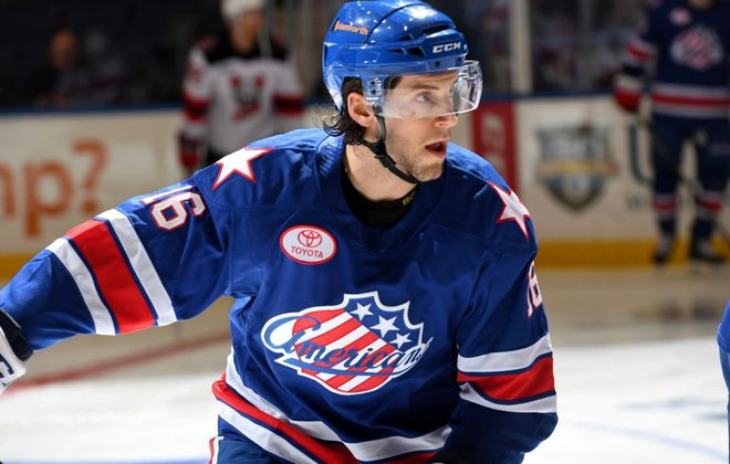 Taylor Leier now has an NHL contract. (Micheline Veluvolu/Rochester Americans)