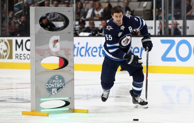 Winnipeg's Mark Scheifele competes in the Puck Control Relay at last month's All-Star Skills Challenge in San Jose (Getty Images).