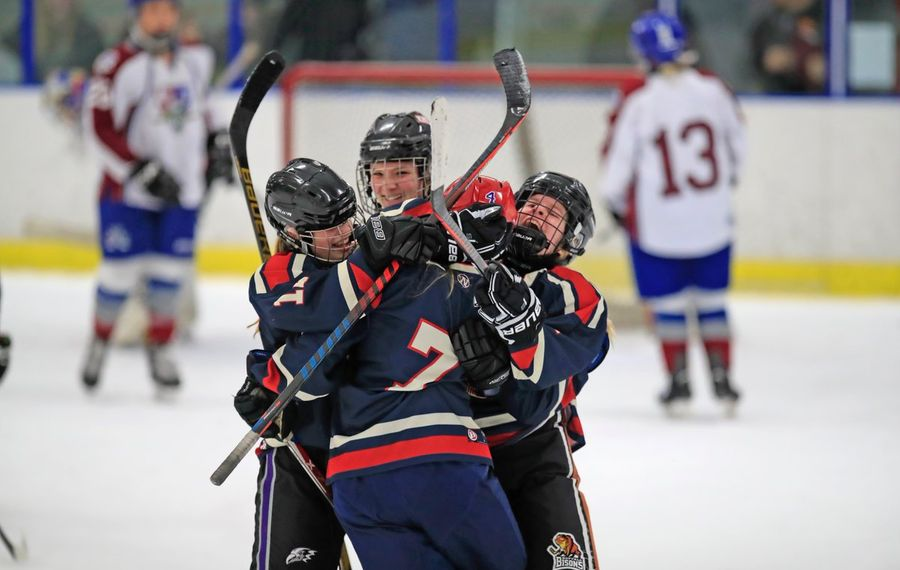 Williamsville celebrates after Erin Roland scores to lift the team to a 4-3 overtime win over defending state champion Frontier/Lake Shore/Orchard Park in the Section VI girls hockey final. (Harry Scull Jr./Buffalo News)