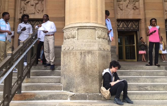 Youth from Mayor Byron W. Brown's Summer Internship Program in 2017 outside City Hall. (Photo by Susan Schulman)