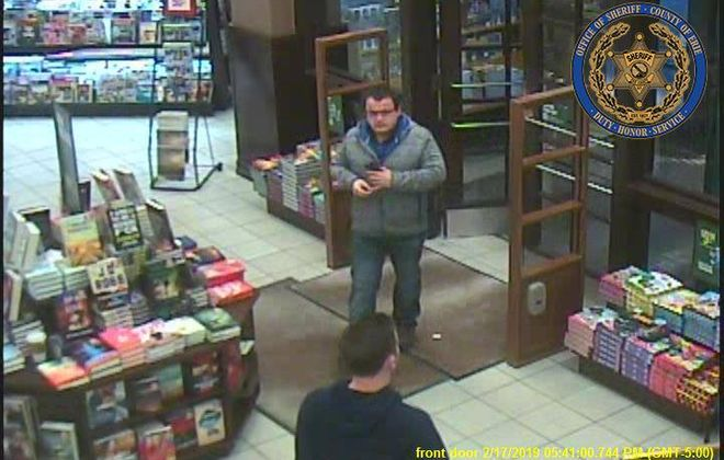 The Erie County Sheriff's Office released this image of a man suspected of stealing 23 books from the Barnes and Noble store on Transit Road in Clarence on Feb. 17, 2019. (Courtesy of the Erie County Sheriff's Office)