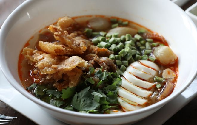 Mohinga, fish chowder with rice noodles, is considered Burma's national dish. This is the version from Lin Restaurant. (Sharon Cantillon/Buffalo News)