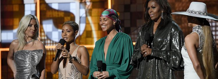 """Jeff Miers writes, """"Alicia Keys was flanked by Lady Gaga, Jada Pinkett Smith, Jennifer Lopez and Michelle Obama, as each of these powerful, talented and intelligent women offered a take on the 'music unites' theme. It all felt warm and fuzzy, but by halfway through the evening, it also felt completely disingenuous."""" (Photo by Kevork Djansezian/Getty Images)"""