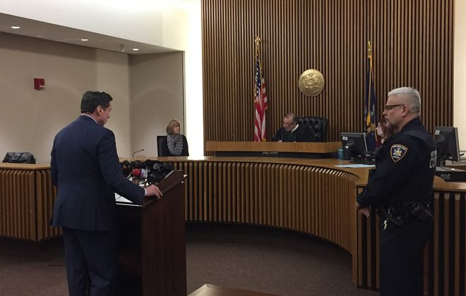 Erie County District Attorney John J. Flynn  on Friday morning asked Chief Buffalo City Court Judge Thomas P. Amodeo to vacate warrants and dismiss cases against 35 people charged with low-level marijuana possession. (Aaron Besecker/Buffalo News)