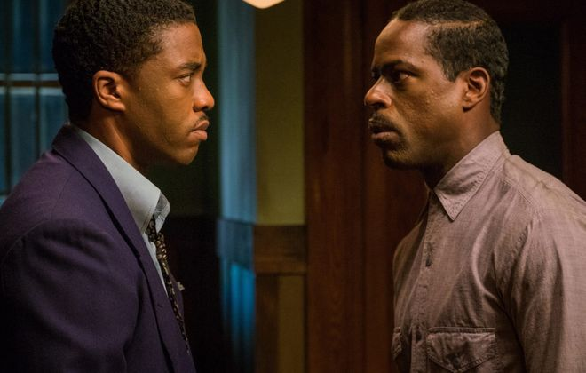 """Sterling K. Brown, right, and Chadwick Boseman in a scene from """"Marshall,"""" which was filmed in Buffalo."""