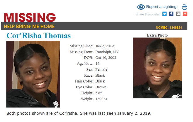 Cor'risha Thomas was last seen Jan. 2, 2019.