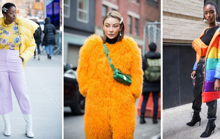 Colorful outfits were in the forecast during the recent New York Fashion Week. (Left and center photos by Donell Woodson/Getty Images. Right photo by  Achim Aaron Harding/Getty Images)
