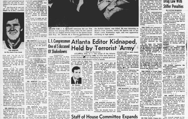 This Day in Buffalo Sports History, Feb. 21, 1974: Tim Horton's tragic ride