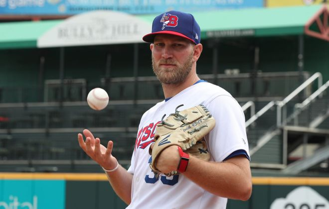 Bisons relief pitcher Justin Shafer was selected to the International League All-Star Game, but was promoted to Toronto on Sunday. He will be replaced in the All-Star game by Buffalo reliever Kirby Snead. (James P. McCoy/Buffalo News)