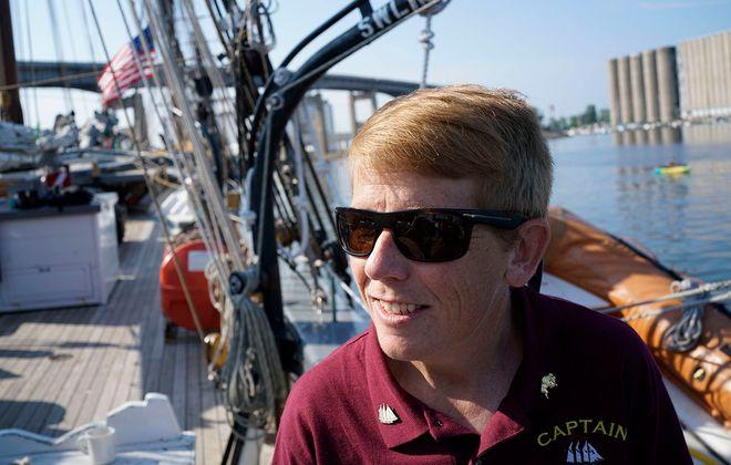 Tiffany Krihwan, senior captain of the schooner Denis Sullivan, aboard her ship at Canalside during the Basil Port of Call: Buffalo on Friday. (Derek Gee/Buffalo News)