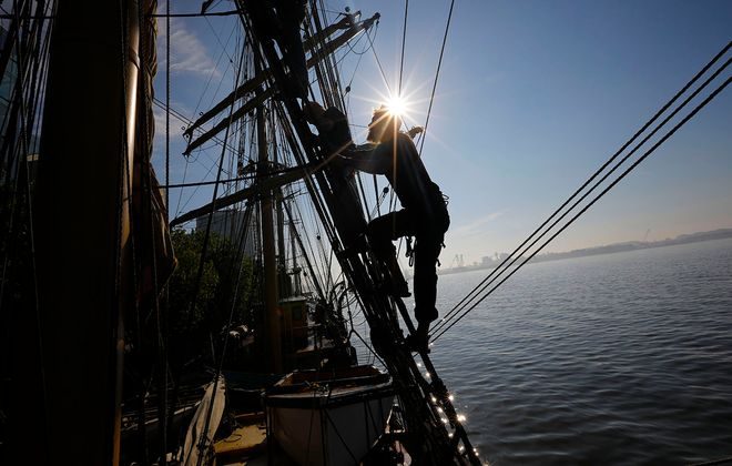 Second Officer David Damkiaer-Classen of Denmark climbs up the rigging aboard the Picton Castle. (Derek Gee/Buffalo News)