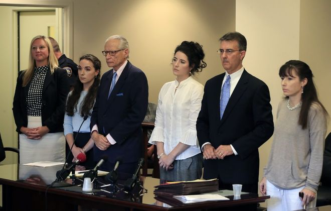 From left, attorney Jessica Kulpit, Annabel S. Pietrocarlo, 23, attorney Joel Daniels, Grace M. Pietrocarlo, 31, attorney Daniel J. Henry Jr., Elissa M. Pietrocarlo, 41. The Pietrocarlo sisters were sentenced by Judge  Christopher J. Burns in State Supreme Court on Tuesday, July 16, 2019.(Harry Scull Jr./Buffalo News)