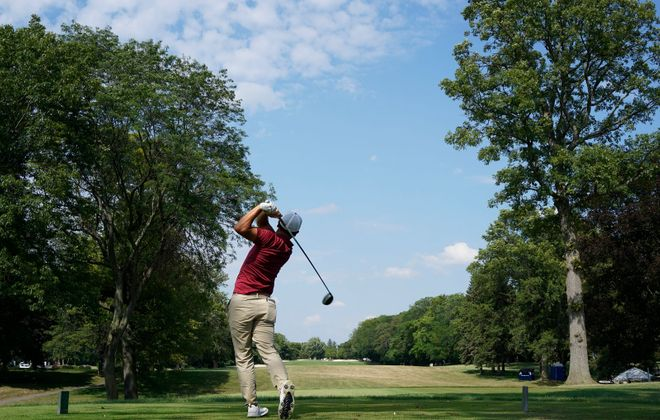 John Pak tees off on 17 during the championship round of the Porter Cup at the Niagara Falls Country Club in Lewiston, Saturday, July 27, 2019. (Derek Gee/Buffalo News)