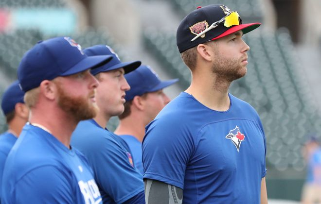 Toronto Blue Jays 2016 first-round pick T.J. Zeuch, right, is adjusting to Triple A with the Bisons. (James P. McCoy/Buffalo News)