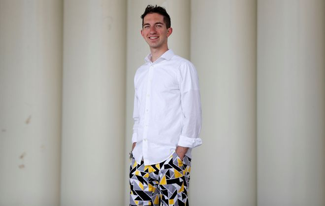 Jimmy Stelianou  poses for Fashion Friday in the Bassett Park Amphitheater in Amherst. (Mark Mulville/Buffalo News)