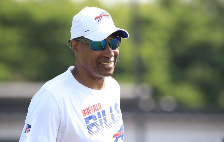 Buffalo Bills defensive coordinator Leslie Frasier during training camp.(Harry Scull Jr./Buffalo News)