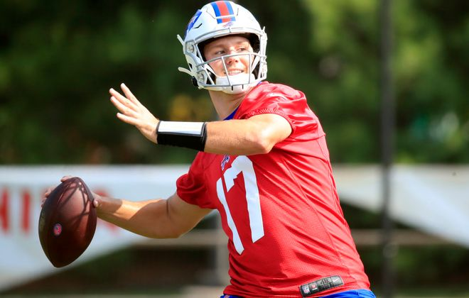 Bills quarterback Josh Allen has a strong arm to throw long (Harry Scull Jr./Buffalo News)
