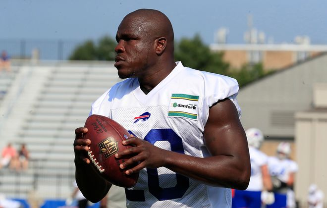 Bills running back Frank Gore during training camp on Friday, July 26, 2019. (Harry Scull Jr./Buffalo News)