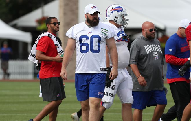 Bills center Mitch Morse had a day off for  concussion protocol during Day 6 of practice on Wednesday, July 31, 2019, at St. John Fisher College. (James P. McCoy/Buffalo News)