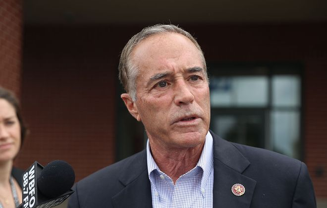 Former Rep. Chris Collins said at a July news conference, above, that he would never plead guilty to charges related to insider trading. (John Hickey/News file photo)