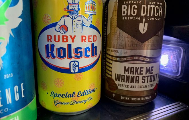 Big Ditch Brewing Company's Make Me Wanna Stout, right, recently made a top 10 list of football-themed beers - and that's not the only name Bills fans will love on the list. (Scott Scanlon/Buffalo News)