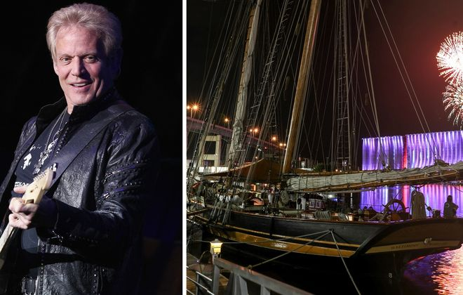 Don Felder, left, the former guitarist for the Eagles, headlines the Ellicottville Summer Music Festival, while the Tall Ships remain at Canalside through Sunday. (Getty Images; James P. McCoy/Buffalo News)