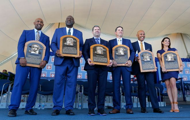 The Hall of Fame Class of 2019, from left: Harold Baines, Lee Smith, Edgar Martinez, Mike Mussina, Mariano Rivera and Brandy Halladay, wife of the late Roy Halladay. (Getty Images)