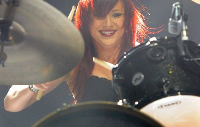 Drummer Jen Ledger of Skillet. The hard rock band's high billing on this year's Kingdom Bound festival roster represents the changing face of contemporary Christian music. (Getty Images)
