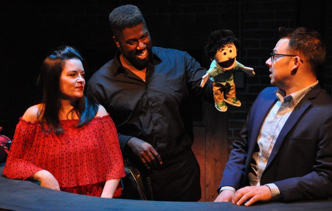 """Michele Marie Roberts, Dudney Joseph, Jr. and Marc Sacco star in MusicalFare Theatre's production of """"First Date."""" (Photo by Chris Cavanagh)"""