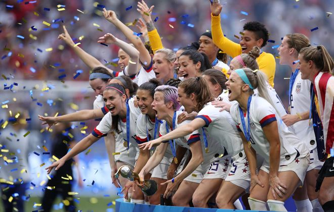 Team USA celebrates its FIFA Women's World Cup championship following the team's victory Sunday over The Netherlands. (Alex Grimm/Getty Images/TNS)