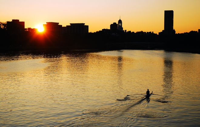 Cambridge and Somerville sit across the banks of the Charles River from Boston.