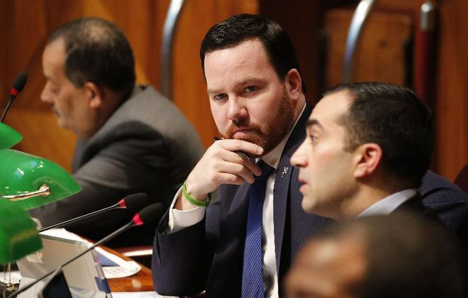Buffalo Common Council Member Christopher P. Scanlon looks on during a meeting in the Council Chambers at City Hall. (Derek Gee/News file photo)