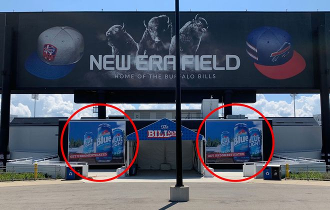 The 16-by 20-foot mural spaces beneath the scoreboard at New Era Field. (Contributed photo)