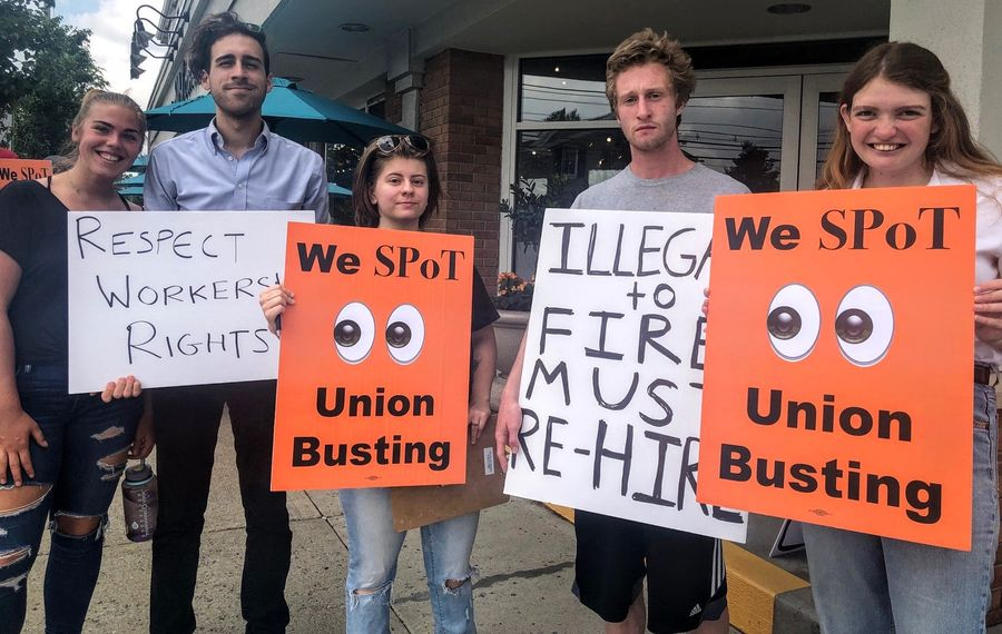 Spot Coffee workers protest the firing of workers who had tried to unionize. (Samantha Christmann/Buffalo News)
