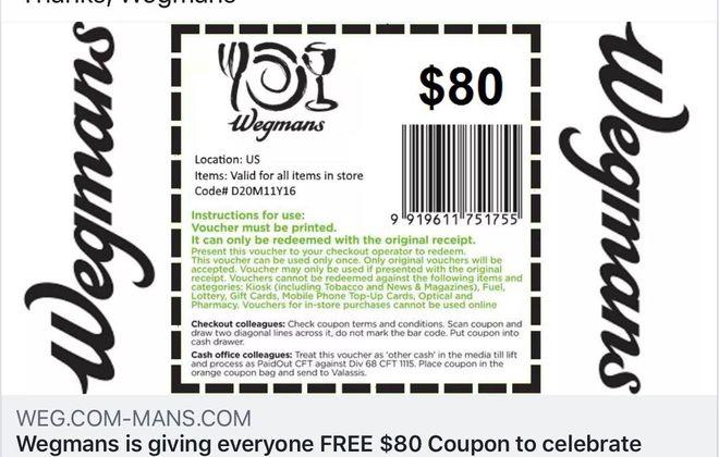 A fake coupon circulating on Facebook Thursday. (Screenshot)