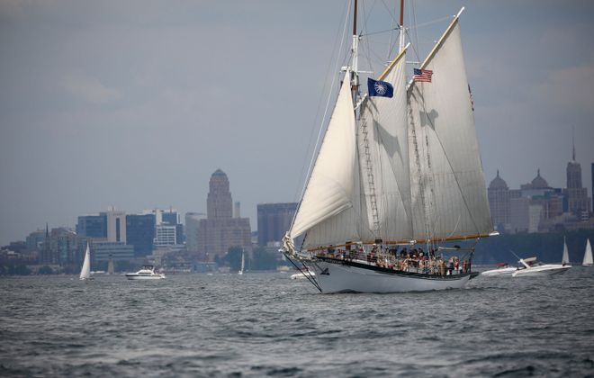 The Appledore IV sails in Buffalo Harbor. (Derek Gee/Buffalo News)